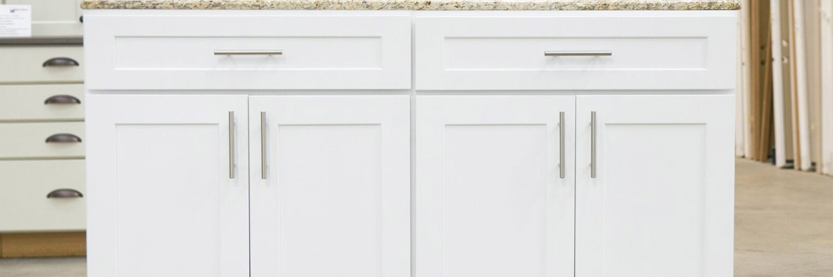 <strong>SKU 4451</strong>: Traditional white shaker style cabinets. Soft-close drawers. Come in all sizes and can be staggered for more luxury look. Very good quality. This line of cabinets has a crown package that can be easily added for an additional cost.