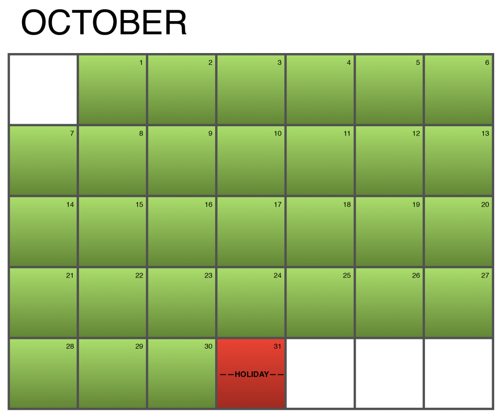 Seasonality Calendar - October